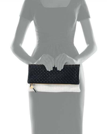 Bicolor Basketweave Fold-Over Clutch Bag, Black/White