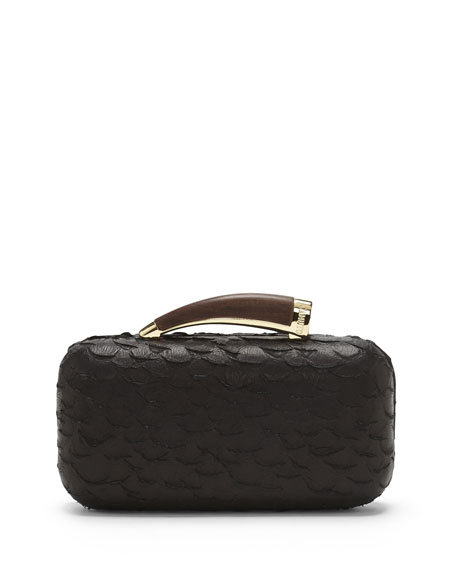 Snake-Embossed Leather Horn Clutch Bag, Black