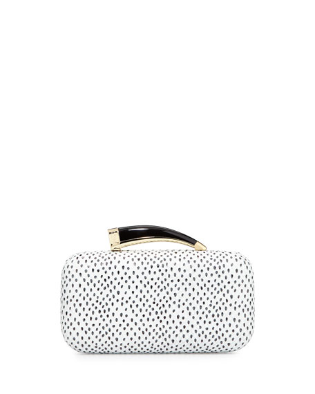 Mamba Spotted Leather Horn Clutch, Black/White