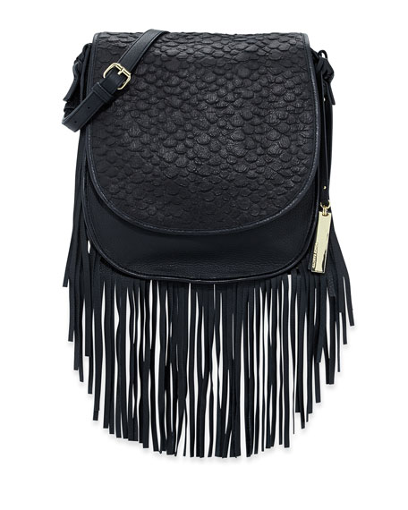 Andy Snake-Embossed Fringe Shoulder Bag, Black
