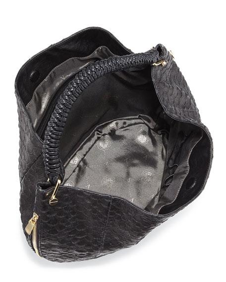 Skye Snake-Embossed Leather Hobo Bag, Black