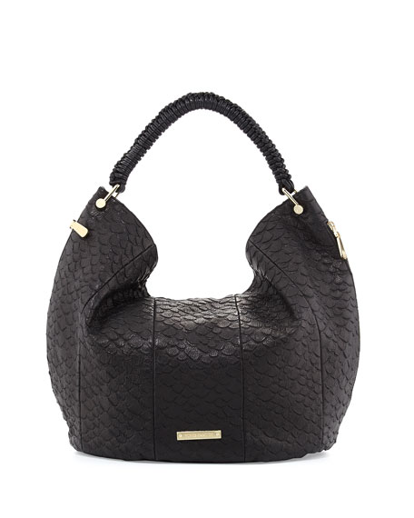 Skye Snake-Embossed Leather Hobo Bag, Black