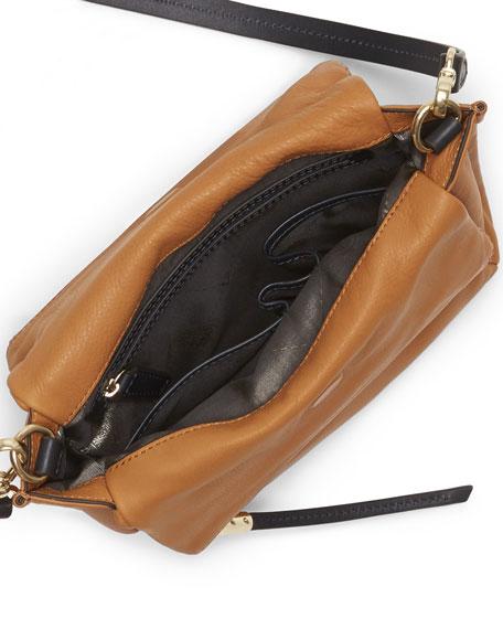 Faye Double-Zip Crossbody Bag, Burnt Caramel/Black