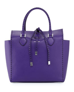 MICHAEL KORS Large Miranda Grained Tote, Grape