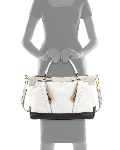 Carolina Colorblock Leather Satchel, White Multi