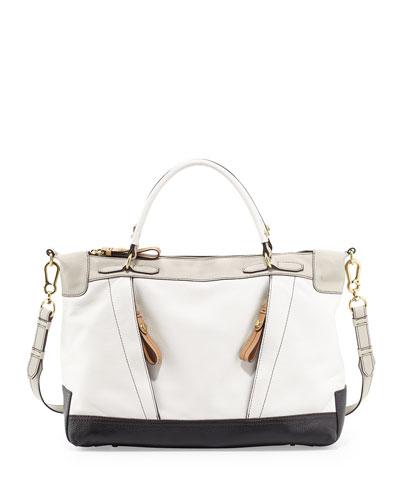 Carolina Colorblock Leather Satchel, White Multi