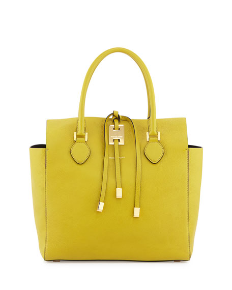 Large Miranda Grained Tote, Chartreuse