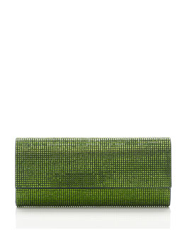 Judith Leiber Couture Ritz Fizz Crystal Clutch Bag, Silver Fern Green