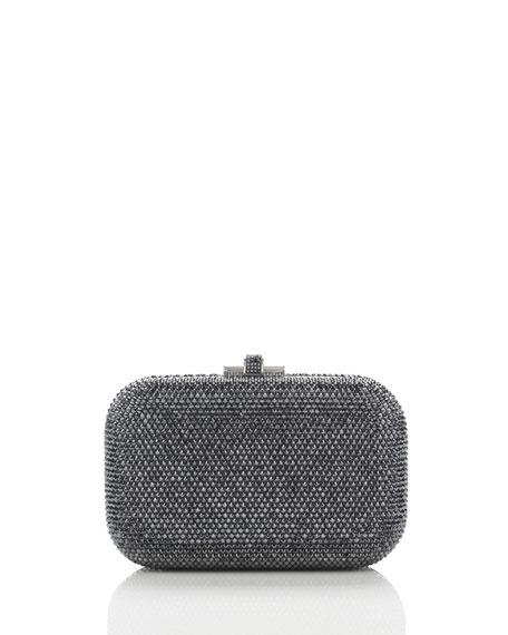 Crystal Slide-Lock Clutch Bag, Hematite