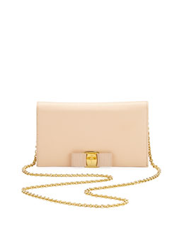 Salvatore Ferragamo Vara Saffiano Leather Wallet-on-a-Chain, Quarzo Rosa