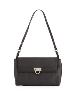 Salvatore Ferragamo Abbey Leather Shoulder Bag, Black