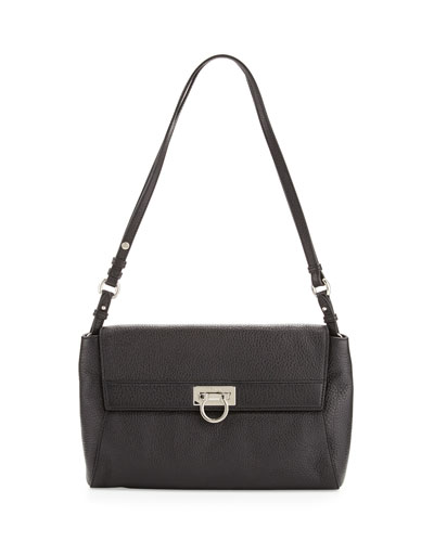 Salvatore Ferragamo Abbey Leather Shoulder Bag, Black
