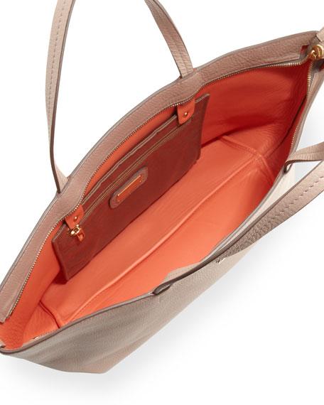 Bice Pebbled Leather Tote Bag, Quarzo Fume