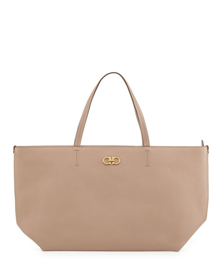 Bice Pebbled Leather Tote Bag, Quarzo Fume