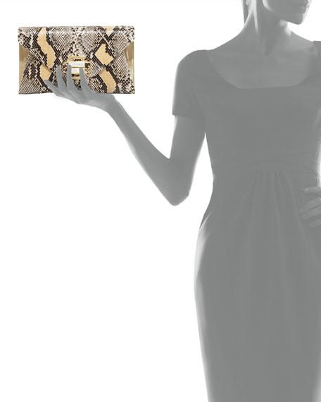 Electra Medium Python Clutch Bag, Black/Nude