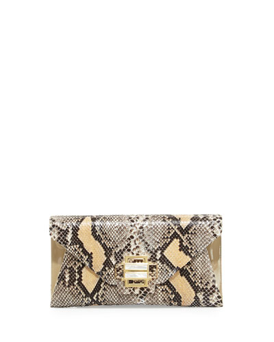 Kara Ross Electra Medium Python Clutch Bag, Black/Nude