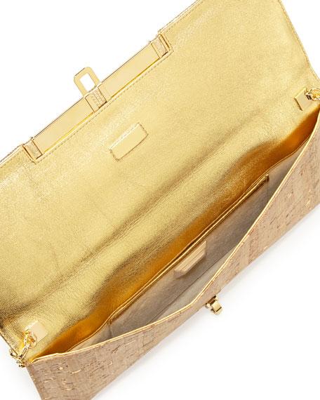 Mia Cork & Lizard Clutch Bag, Nude