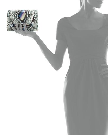 Priscilla Python Fold-Over Clutch Bag