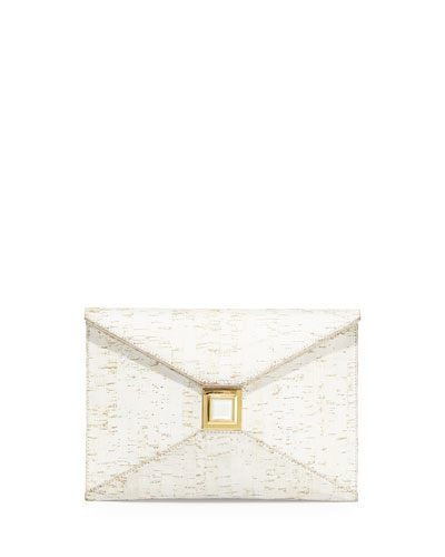 Prunella Cork Clutch Bag, White