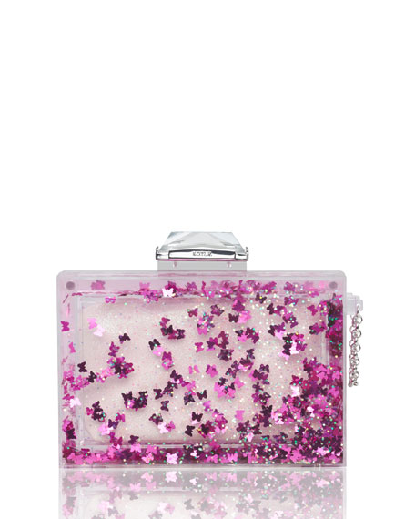 Social Butterfly Globe Clutch Bag, Pink