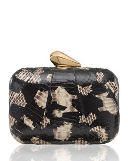 Kotur Morley Snakeskin Clutch Bag, Black/Natural
