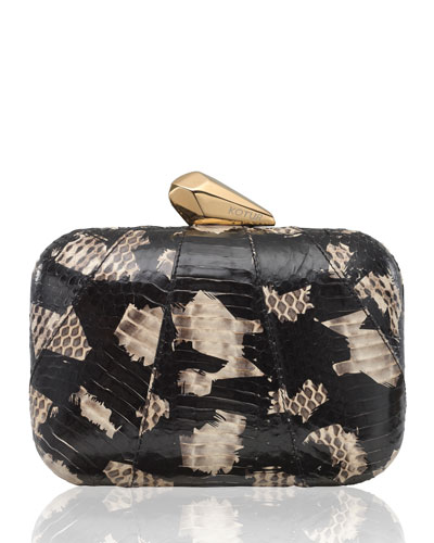 Morley Snakeskin Clutch Bag, Black/Natural