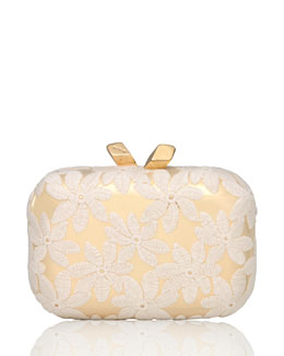 Kotur Margo Floral-Embroidered Minaudiere, White/Gold
