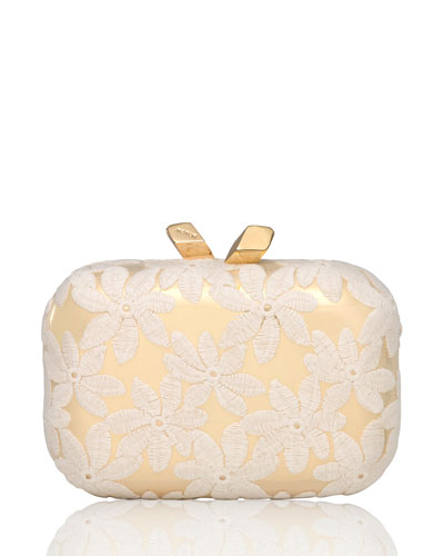 Margo Floral-Embroidered Minaudiere, White/Gold