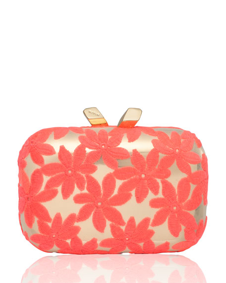 Margo Floral-Embroidered Minaudiere, Pink/Gold