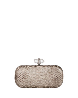 Marchesa Lily Medium Python Oval Box Clutch, Silver