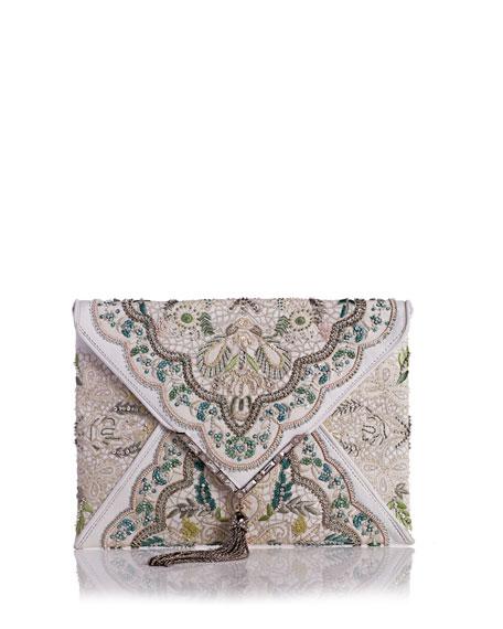 Elisa Embroidered Irish Lace Clutch Bag