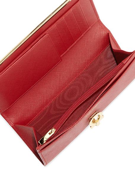 Gancio Clasp Continental Wallet, Rosso