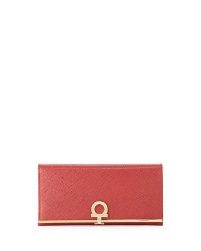 Salvatore Ferragamo Gancini Icona Bar Continental Wallet, Rosso (Red)
