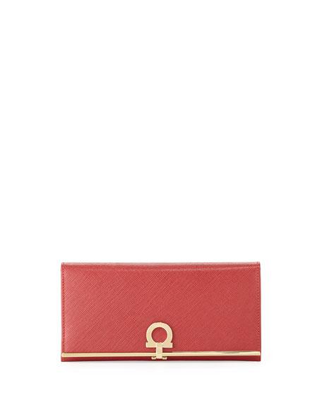 Salvatore Ferragamo Gancio Clasp Continental Wallet, Rosso