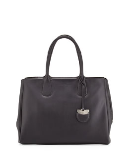 Salvatore Ferragamo Nolita Large Gancio Tote Bag, Nero Black