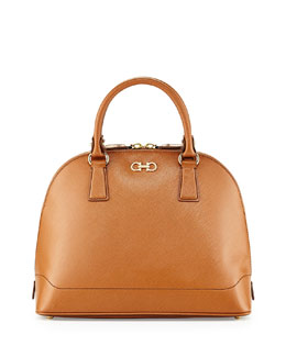 Salvatore Ferragamo New Gancini Icona Vitello Dome Satchel, Tan