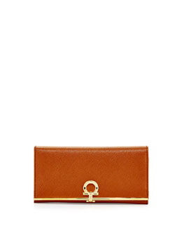 Salvatore Ferragamo Gancini Icona Bar Continental Wallet, Palissandro (Tan)