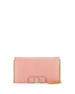 Salvatore Ferragamo Miss Vara Bow Clip Wallet-on-a-Chain, Blush