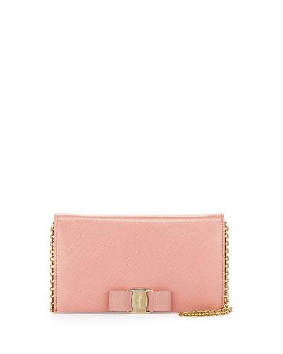Salvatore Ferragamo Miss Vara Bow Clip Wallet-on-a-Chain, Blush