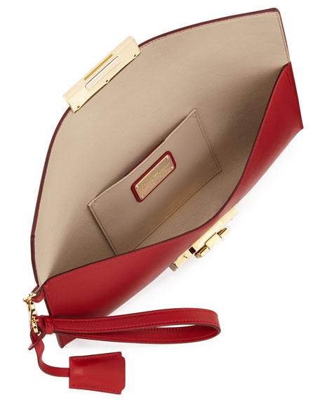 Afef Lock Story Wristlet Clutch Bag, Rosso