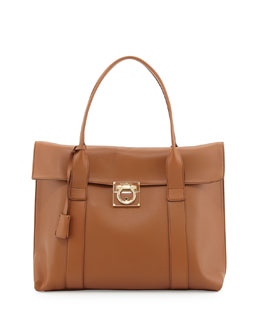 Salvatore Ferragamo Sookie Large Lock Story Satchel Bag, Tan