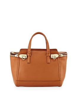 Salvatore Ferragamo Verve Light Small Gancio Zip Tote Bag, Palissandro (Tan)