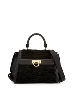Salvatore Ferragamo Sofia Mediterraneo Calf Hair Satchel Bag, Nero (Black)