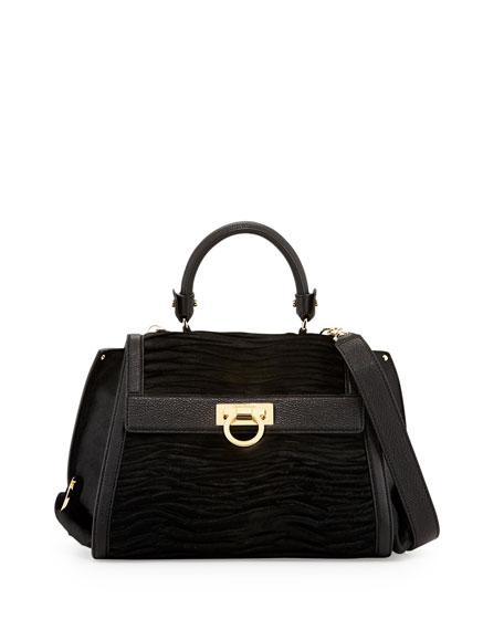 Sofia Mediterraneo Calf Hair Satchel Bag, Nero (Black)