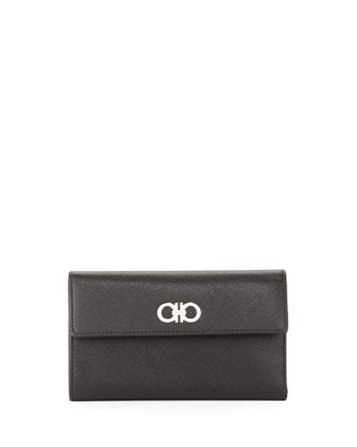 Salvatore Ferragamo Gancini Icona Continental Phone Wallet, Nero (Black)