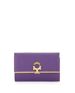 Salvatore Ferragamo Icona Gancini French Wallet, Grape