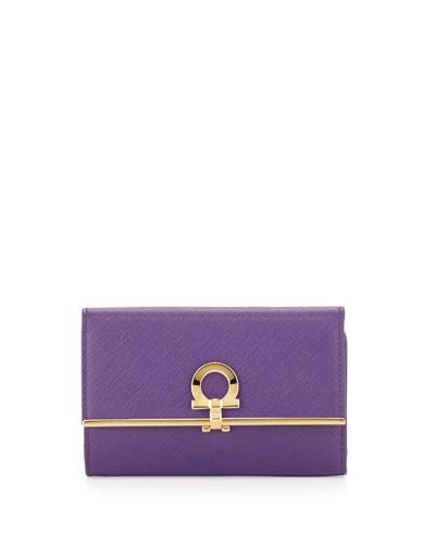 Salvatore Ferragamo Icona Gancini French Wallet, Grape