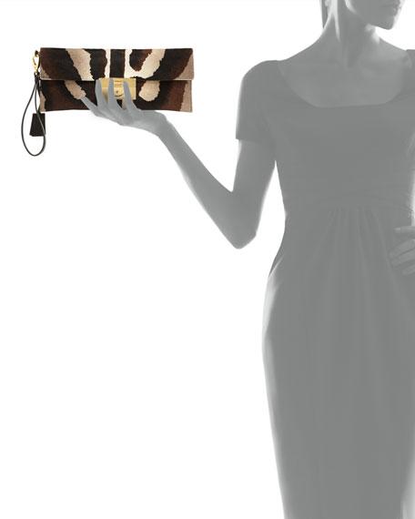 Afef Lock Story Zebra-Print Wristlet Clutch, Cacao