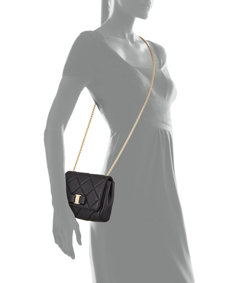 Miss Vara Bow Quilted Crossbody Bag, Nero (Black)