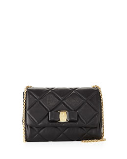 Salvatore Ferragamo Miss Vara Bow Quilted Crossbody Bag, Nero (Black)